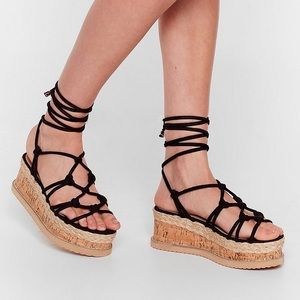 NIB We're the Woven Ones Strappy Platform …